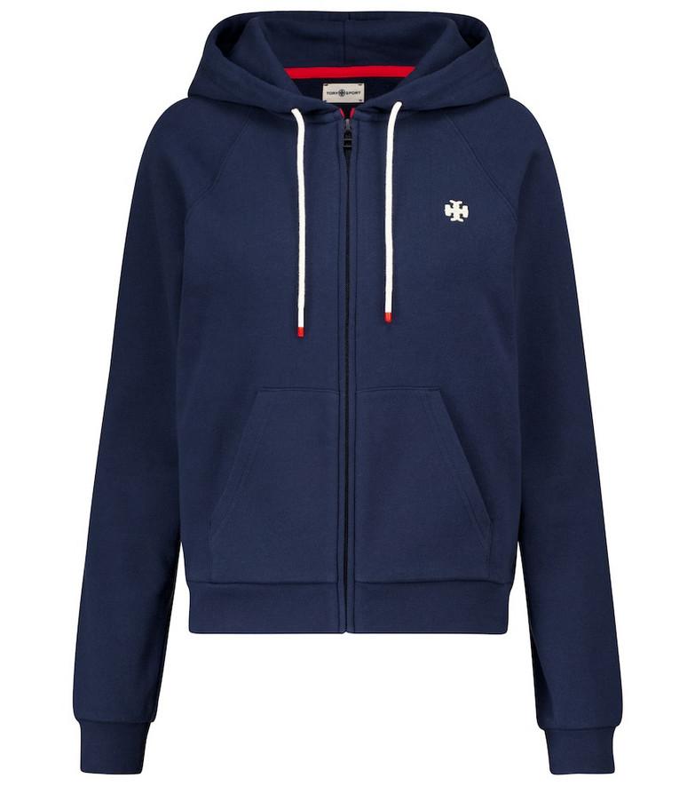 Tory Sport Zip-through cotton hoodie in blue