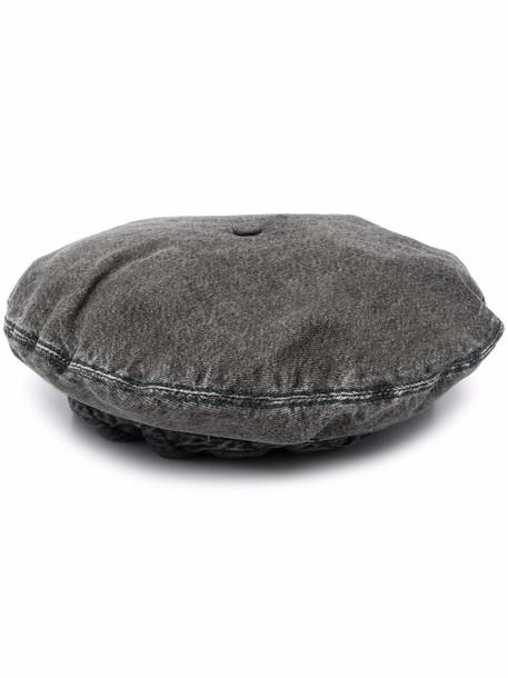 GANNI organic cotton denim beret - Grey