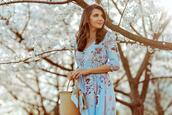 the mysterious girl,blogger,dress,shoes,bag,scarf,floral dress,blue dress,spring outfits