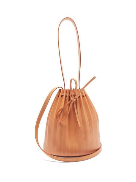 Mansur Gavriel - Pleated Leather Bucket Bag - Womens - Tan