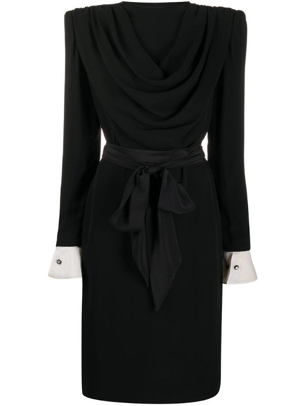 Valentino Pre-Owned drape detail silk dress in black