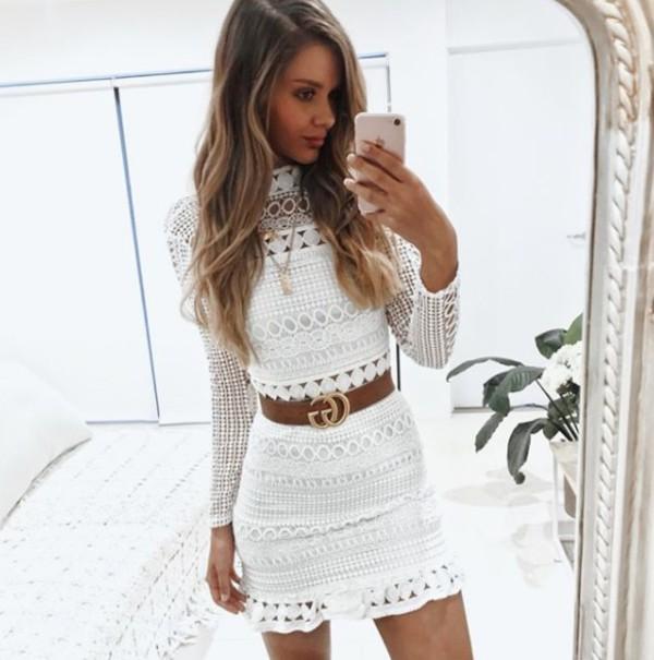 dress white lace long sleeves mini bodycon mini dress cocktail dress