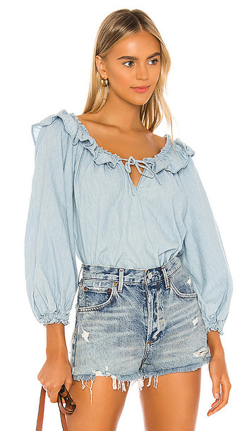 Free People Lily Of The Valley Chambray Blouse in Blue