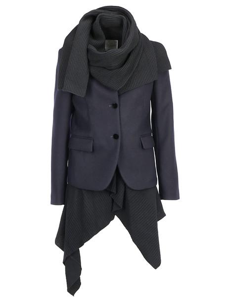 Sacai Melton Knit Coat in black / navy