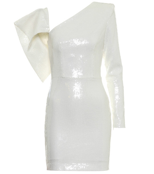 Alex Perry Jett one-shoulder sequined minidress in white