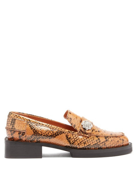 Ganni - Crystal-button Python-effect Leather Loafers - Womens - Tan