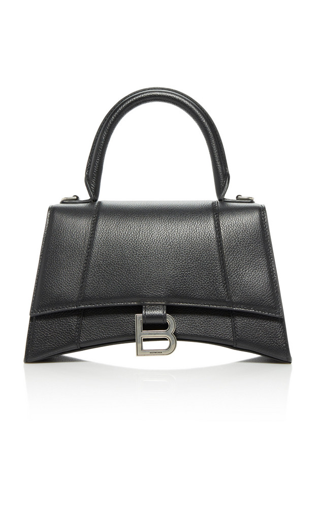 Balenciaga Hourglass Embellished Textured-Leather Top Handle Bag in black