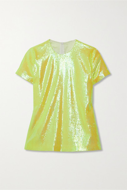 MM6 Maison Margiela - Neon Sequined Tulle Top - Chartreuse