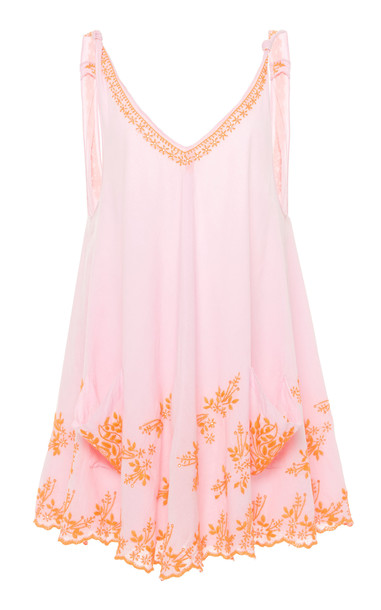 Juliet Dunn Embroidered Low Back Cotton Swing Dress in pink