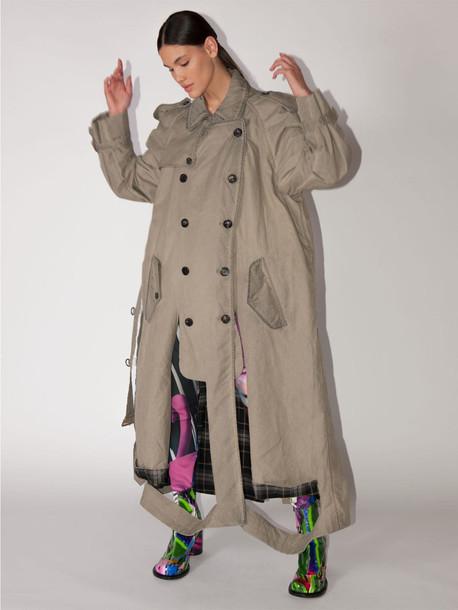 MAISON MARGIELA Long Cotton Blend Trench Coat W/cutouts in beige