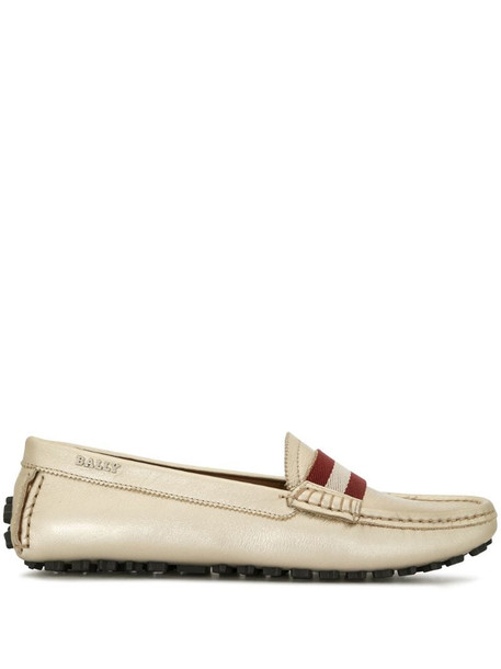 Bally striped-panel loafers in gold