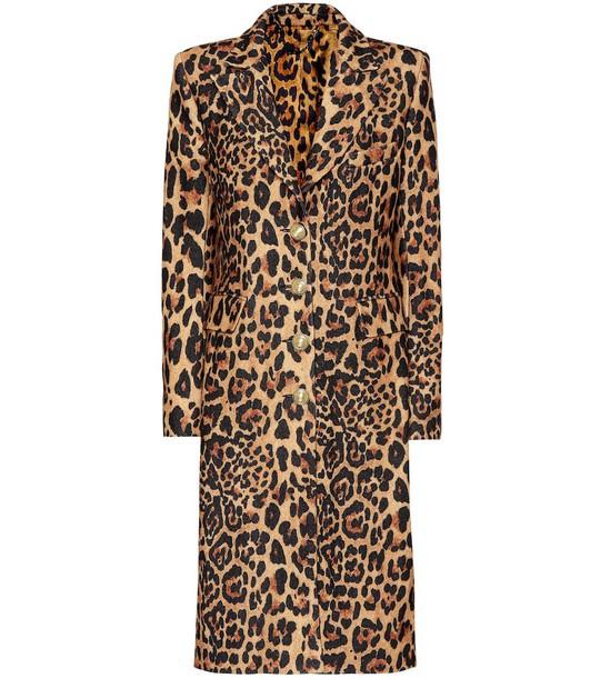 Paco Rabanne Leopard-print wool-blend coat in brown