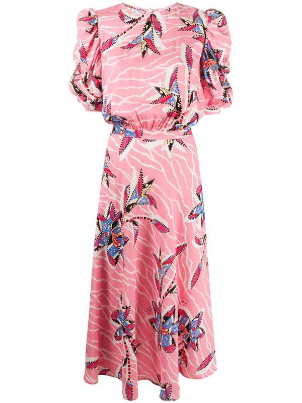 Stella Jean floral print midi dress in pink