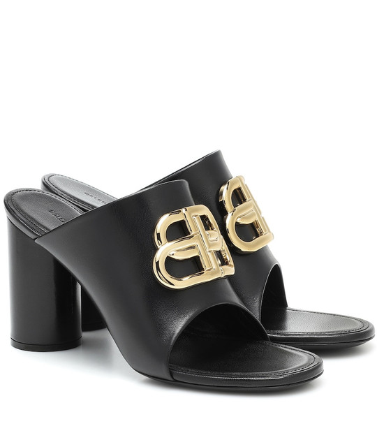 Balenciaga BB leather sandals in black