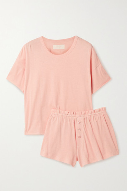 The Great - Cotton-jersey Pajama Set - Blush