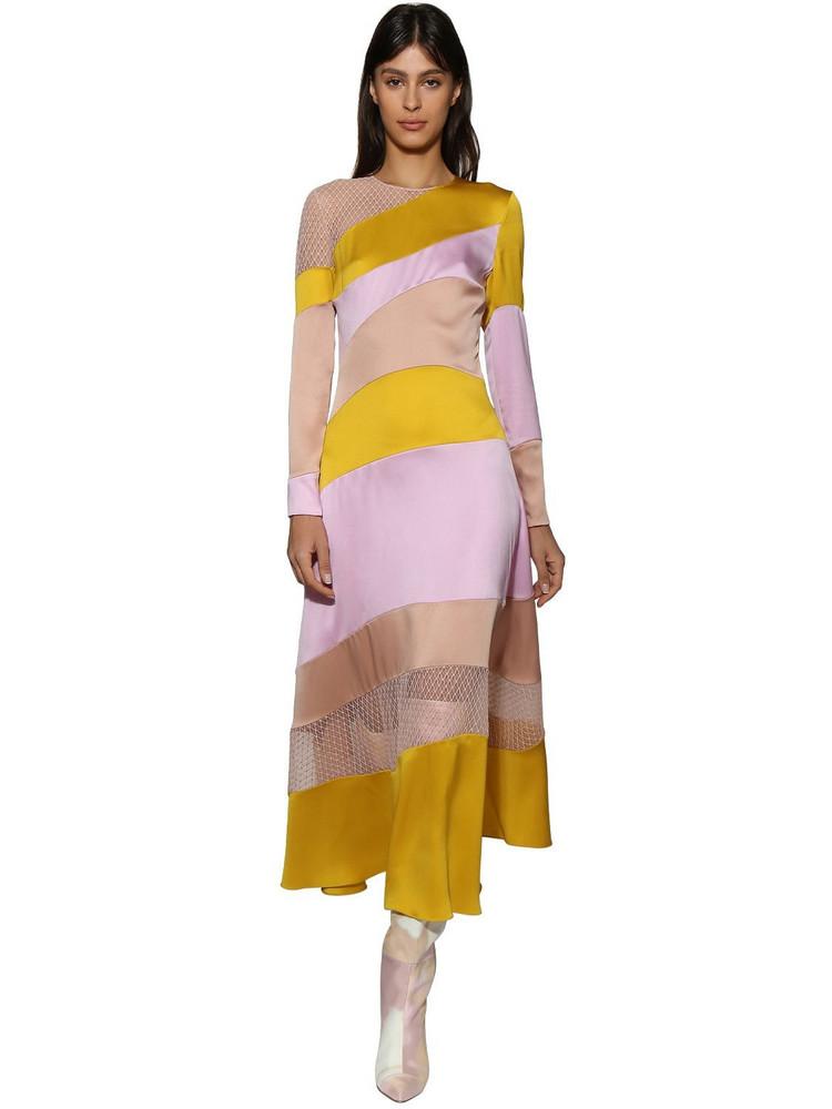 RALPH & RUSSO Silk Midi Dress W/ Stripes in pink / yellow