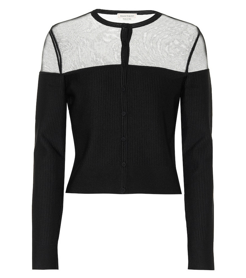 Alexander McQueen Silk and ribbed-knit cardigan in black