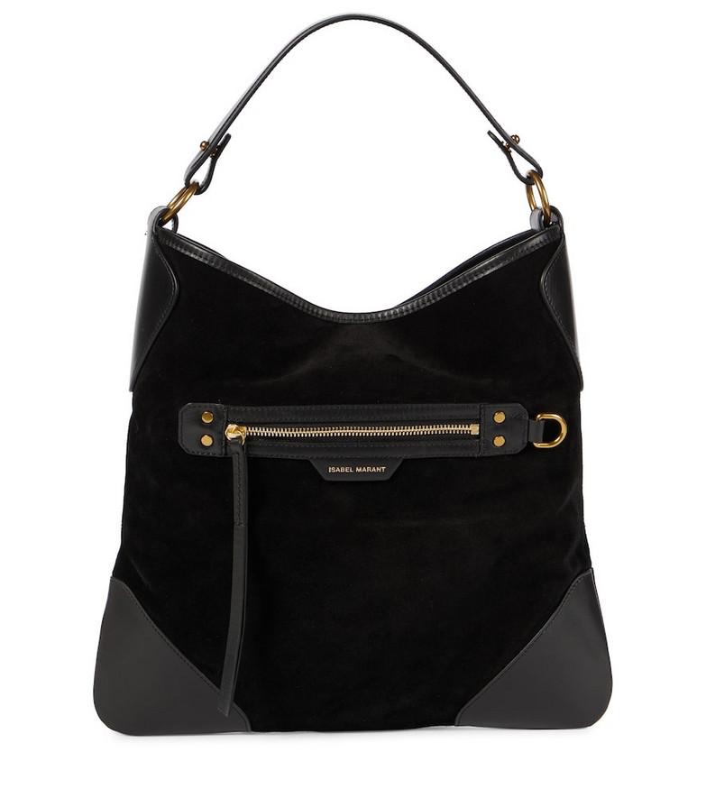 Isabel Marant Amuko suede shoulder bag in black