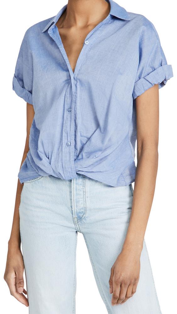 Stateside Short Sleeve Twist Front Shirt in blue