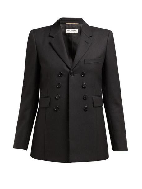 Saint Laurent - Nine Button Single Breasted Cotton Blazer - Womens - Black