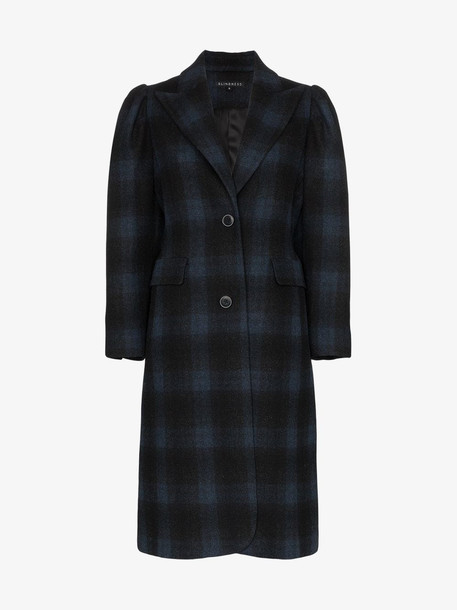 Blindness single-breasted check wool coat in black