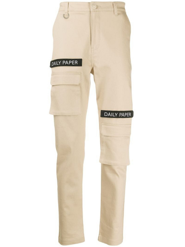 Daily Paper logo patch cargo pants in neutrals