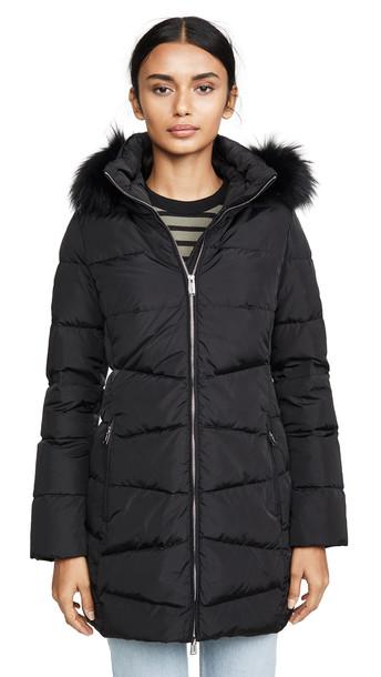 Add Down Down Coat With Detachable Fur Hood in black