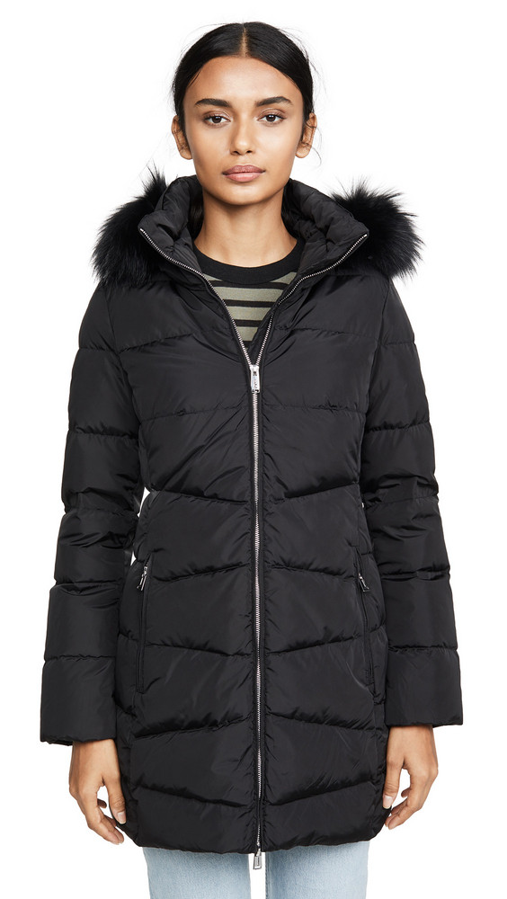 Add Down Down Coat With Detachable Fur Hood in black