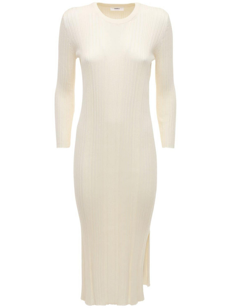 CASASOLA Luiza Silk & Cotton Knit Midi Dress in ivory