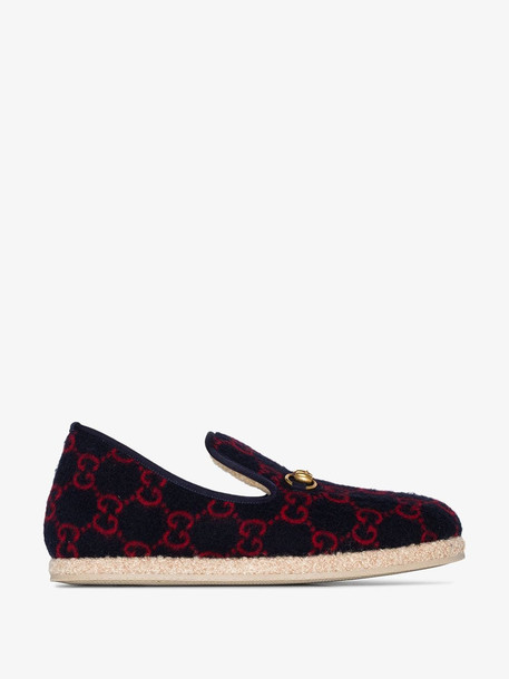Gucci Blue shearling lined GG logo espadrilles