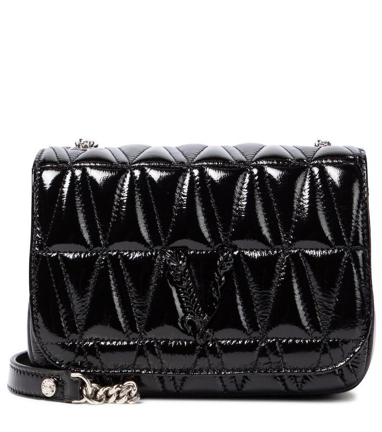 Versace Virtus patent leather shoulder bag in black