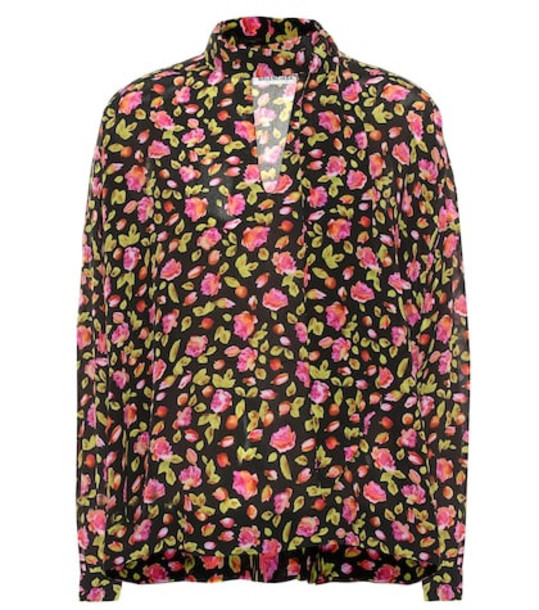 Balenciaga Floral silk blouse in black
