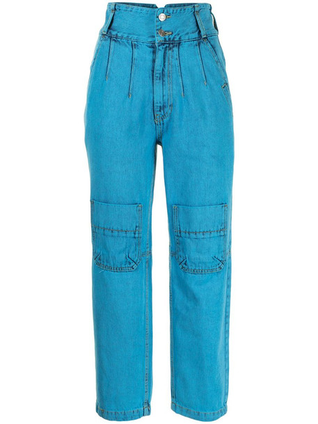 SJYP high-waisted cropped jeans in blue