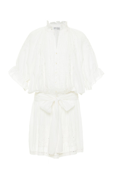 Juliet Dunn Embroidered Cotton Short Sleeved Dress in white