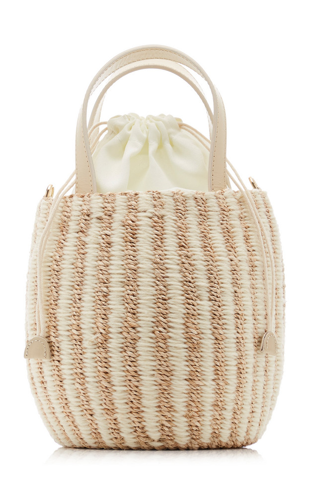 KAYU Tayla Canvas And Woven Straw Top Handle Bag in ivory