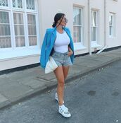 jacket,blazer,double breasted,white sneakers,denim shorts,tank top,white top,white bag