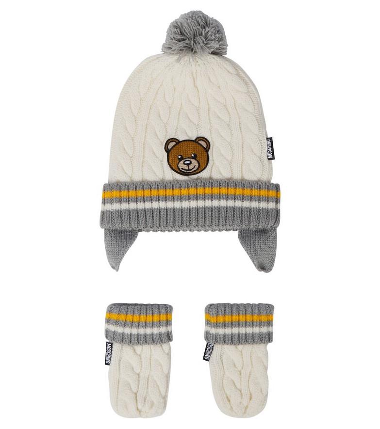 Moschino Kids Baby hat and mittens set