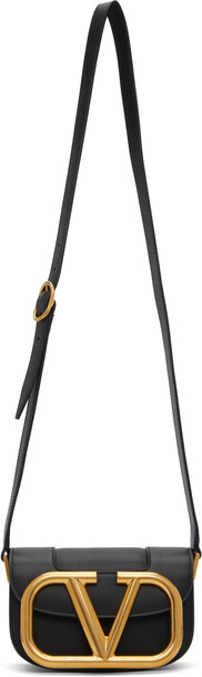 Valentino Garavani Black Small Super VLogo Crossbody Bag