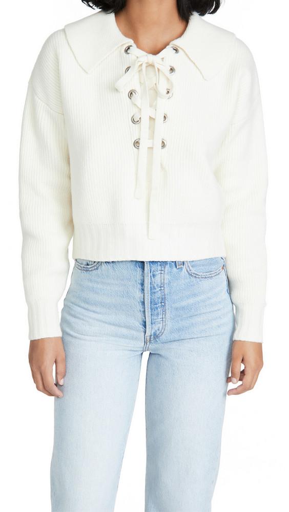 Philosophy di Lorenzo Serafini Lace Up Collar Sweater in ivory
