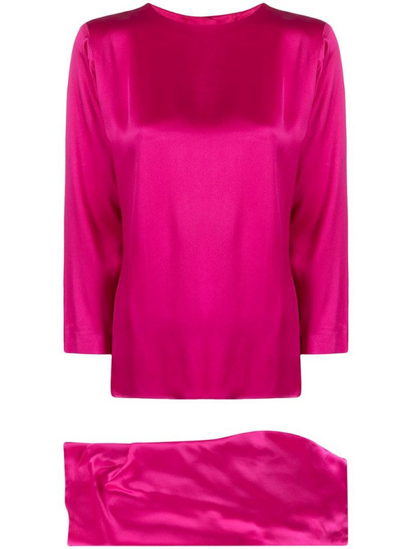 Yves Saint Laurent Pre-Owned wrapped skirt and cropped blouse silk set in pink