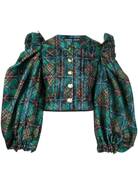 Chopova Lowena puff-sleeve checked blouse in green