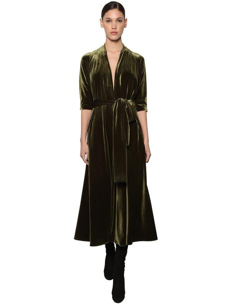 LUISA BECCARIA Flared Velvet Midi Dress W/ Belt in green