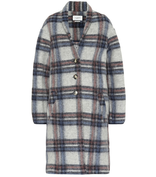 Isabel Marant, Étoile Gabriel checked wool-blend coat in blue