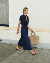 bag,woven bag,jumpsuit,slide shoes