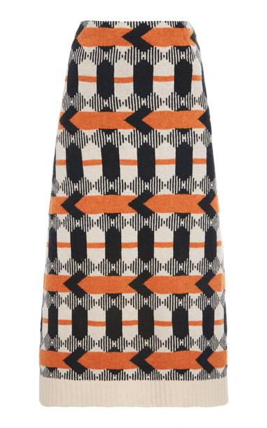 Prada Patterned Wool Midi Skirt Size: 36 in multi