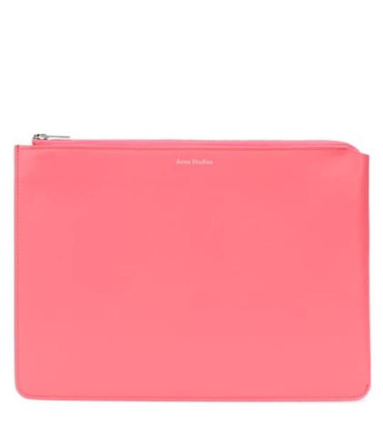 Acne Studios Malachite S leather clutch in pink