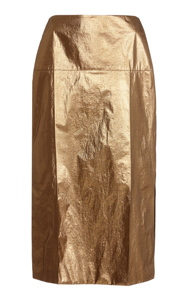 Rejina Pyo Maude Lamé Midi Skirt in metallic