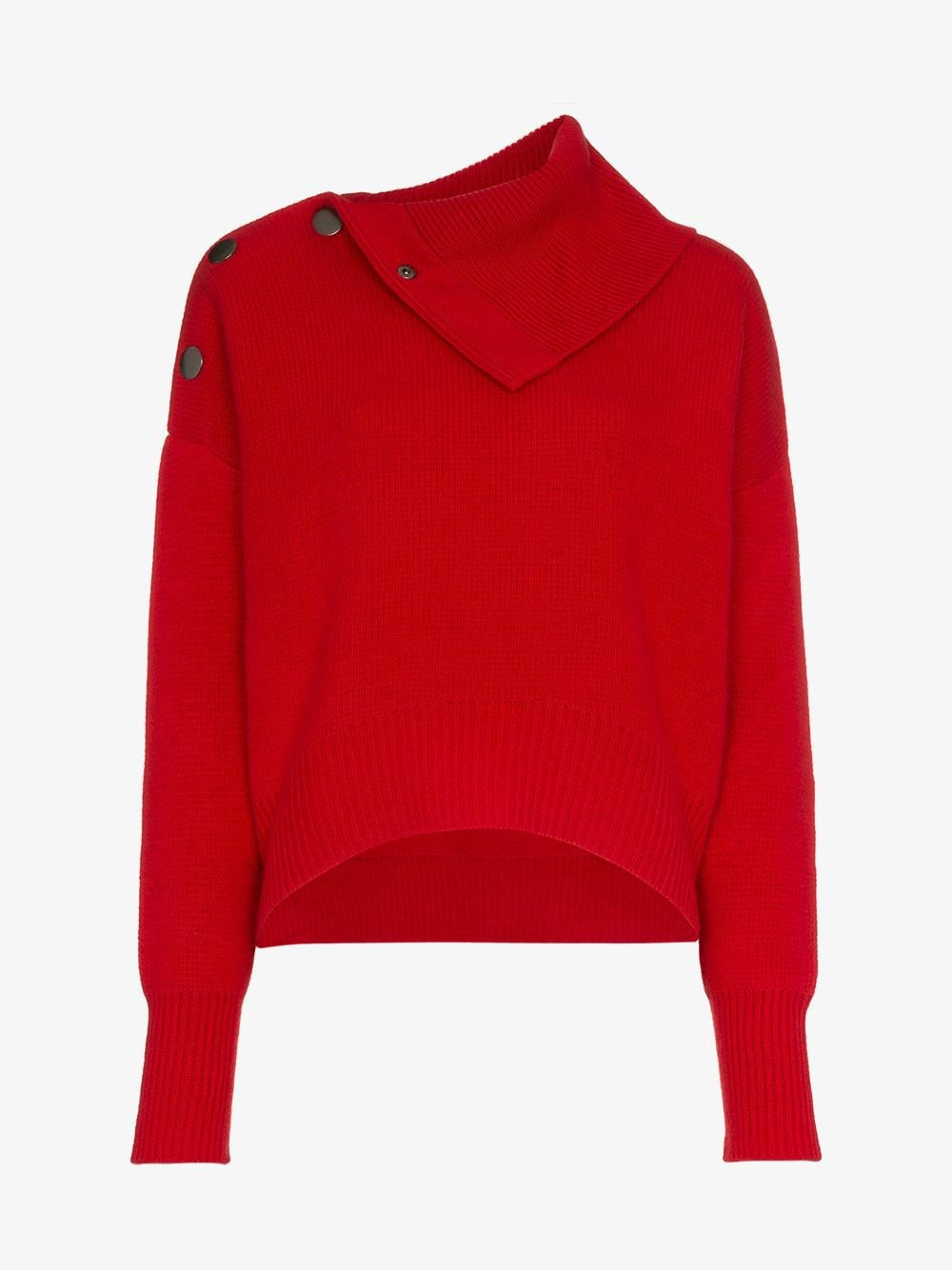 Le Kasha etretate button detail cashmere roll-neck jumper in red