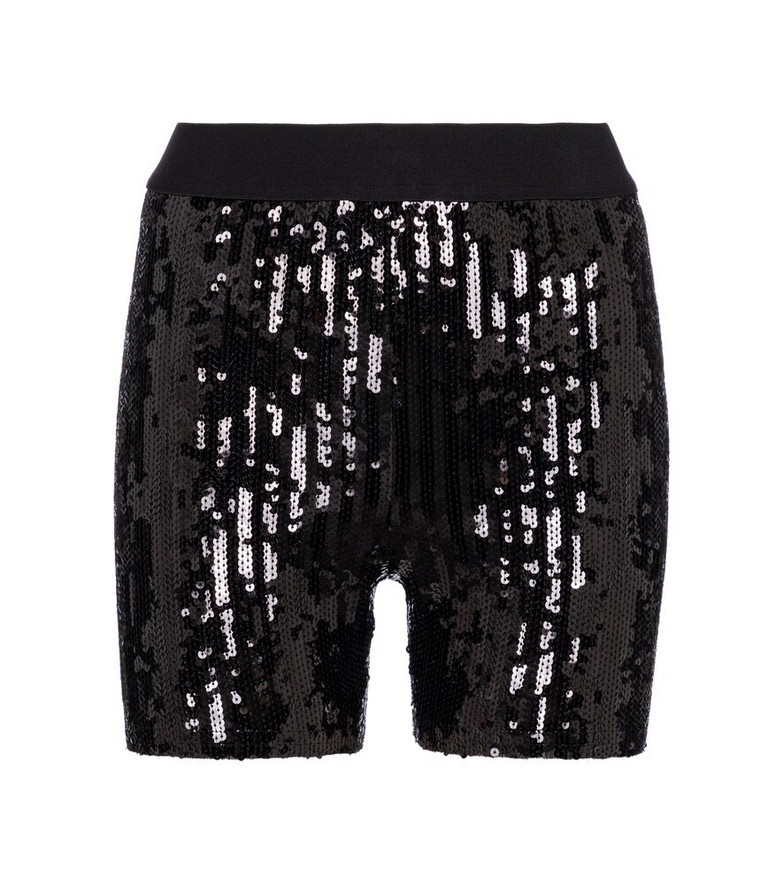 Junya Watanabe Sequined high-rise biker shorts in black