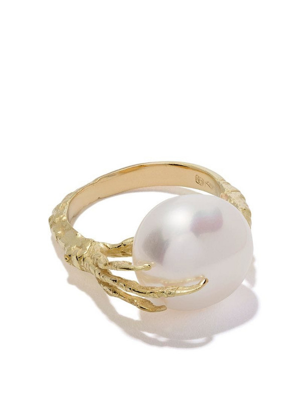 Wouters & Hendrix Gold 18kt gold claw pearl ring